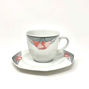 Vintage 80's Art Deco inspired Teacup & Saucer